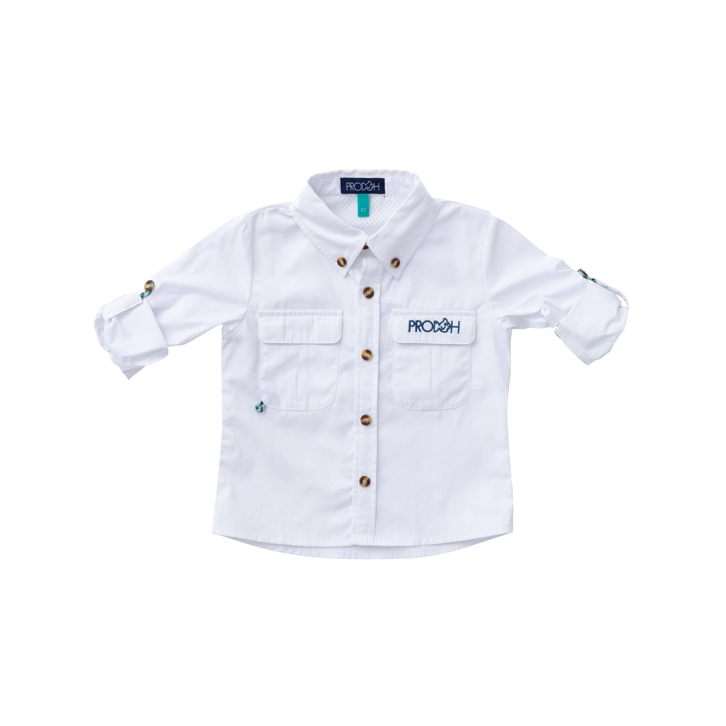 Prodoh Solid Vented Back Fishing Shirt-WHITE