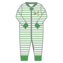 Load image into Gallery viewer, Magnolia Baby Duck Life Applique Green Zipped Pajama