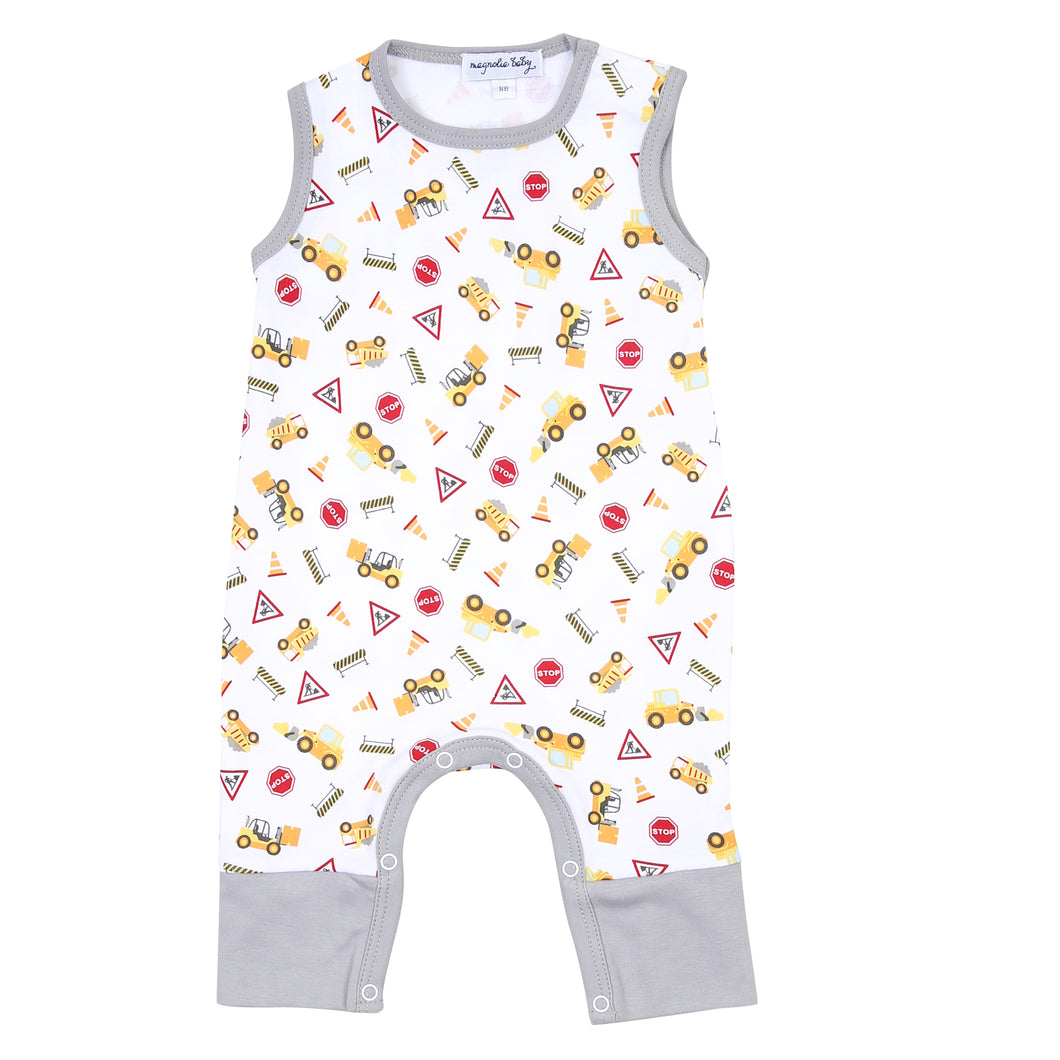 Magnolia Baby UNDER CONSTRUCTION Printed Sleeveless Playsuit