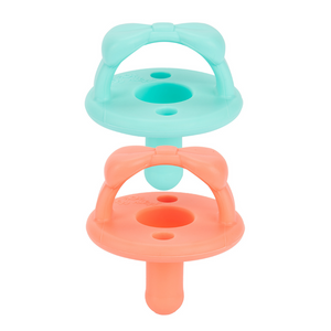 *NEW AQUAMARINE + PEACH Sweetie Soother Pacifier Set