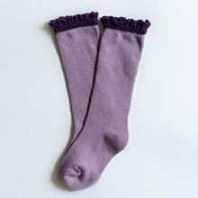 Load image into Gallery viewer, Purple + Plum Lace Top Knee Highs