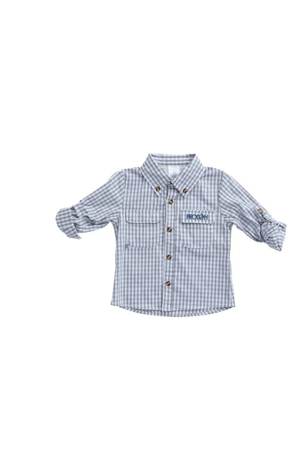 Prodoh Gingham Vented Back Fishing Shirt in Igneous Gray