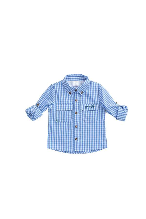 Prodoh Gingham Vented Back Fishing Shirt in Sea Urchin Blue