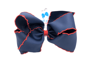 King Moonstitch Bow-Navy with Red Stitching