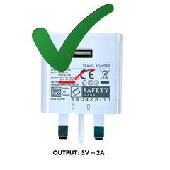 5V/2A USB charger power rating
