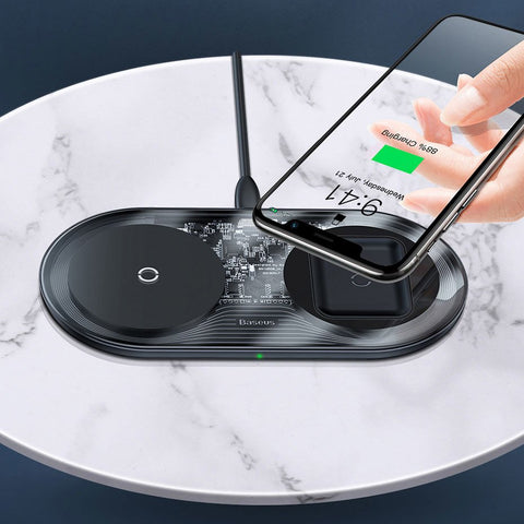 2-in-1 Qi Wireless Charger 15W Charger Station for Smartphones and Airpods