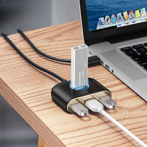 Square Round 4-in-1 USB HUB Adapter Type C to USB