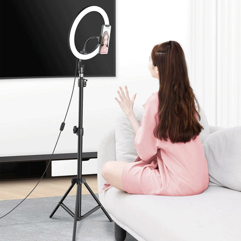 Ring Light LED Lamp 12'' for Smartphone with High Tripod Stand