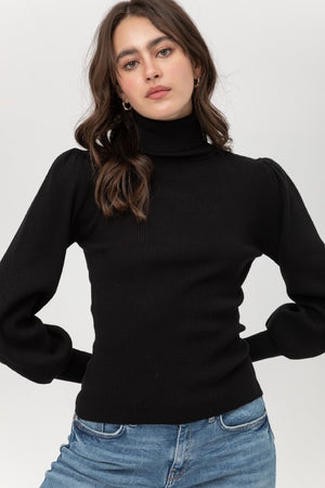 Load image into Gallery viewer, Puff Sleeve turtle neck Sweater, Bijoux Vibes boutique Elizabeth City