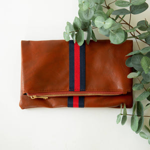 Load image into Gallery viewer, Preppy Stripe Foldover Clutch - Navy & Red Stripe