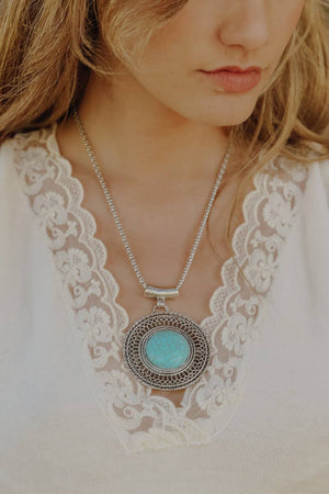 Load image into Gallery viewer, Turquoise Sunrise Necklace, Bijoux Vibes boutique Elizabeth City