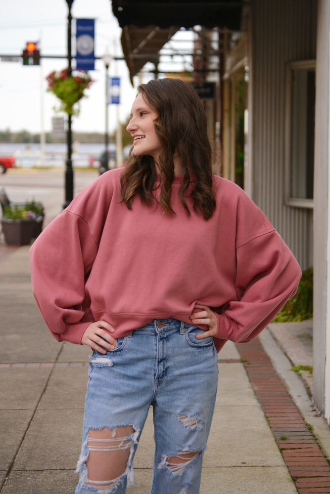 Cozy Sweatshirt w/ Balloon Sleeves