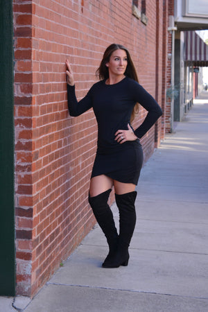 Load image into Gallery viewer, Side Cinched Dress-Black