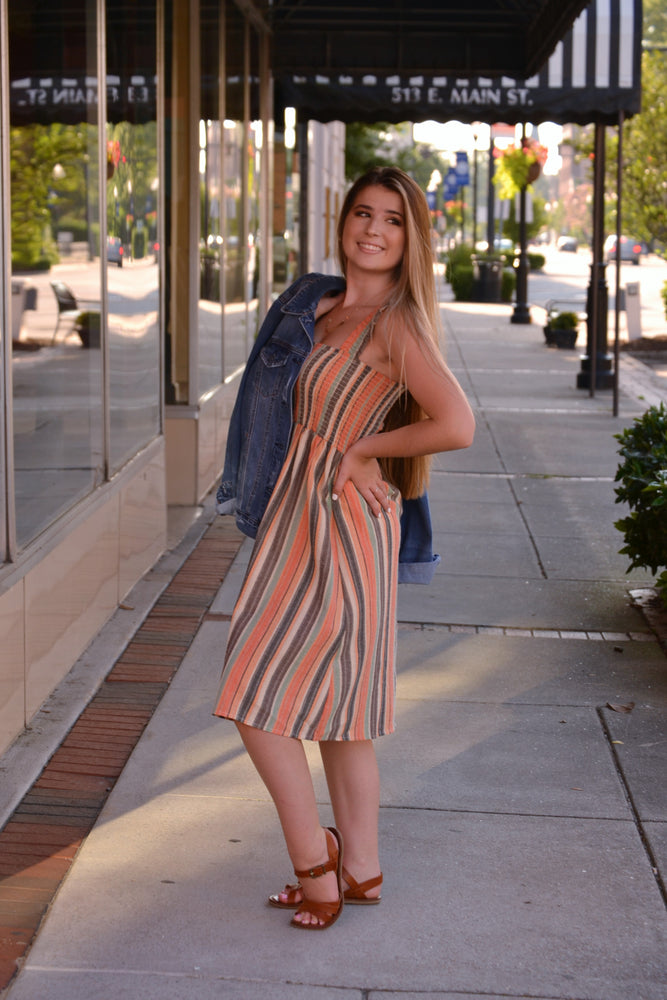 For the Love of Stripes sleeveless dress, Bijoux Vibes boutique Elizabeth City