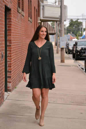 Hunter Bell Sleeve Dress, tiered dress, Bijoux Vibes boutique Elizabeth City