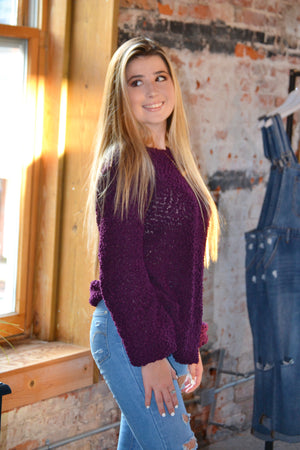 Balloon Sleeve Popcorn Sweater purple, Bijoux Vibes boutique Elizabeth City