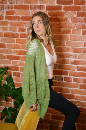 Knit Netted Cardigan-Sage
