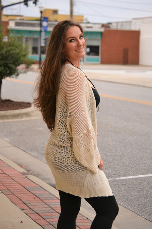 Knit Netted Cardigan-Cream