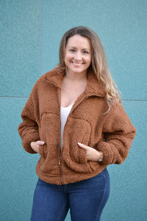 Load image into Gallery viewer, Sherpa Crop Jacket, Bijoux Vibes boutique Elizabeth City
