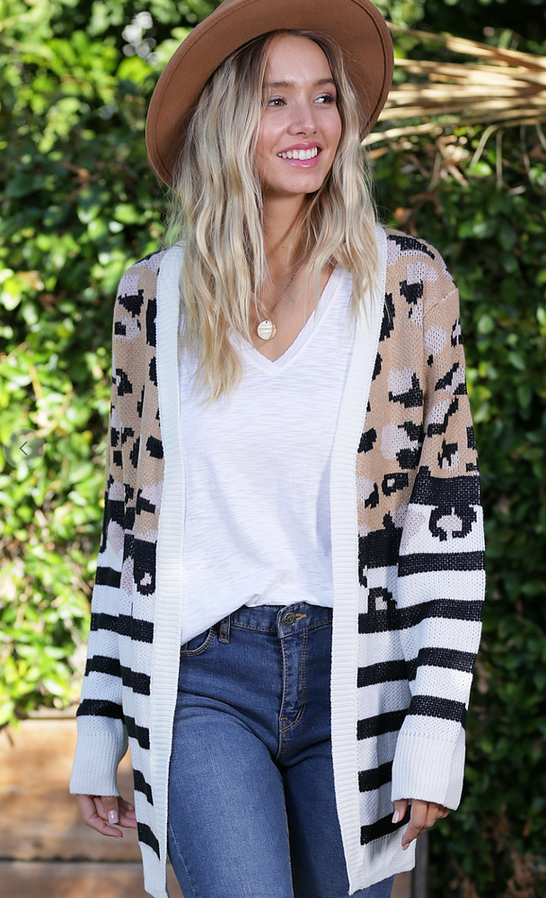 Stripes and Leopard Cardigan