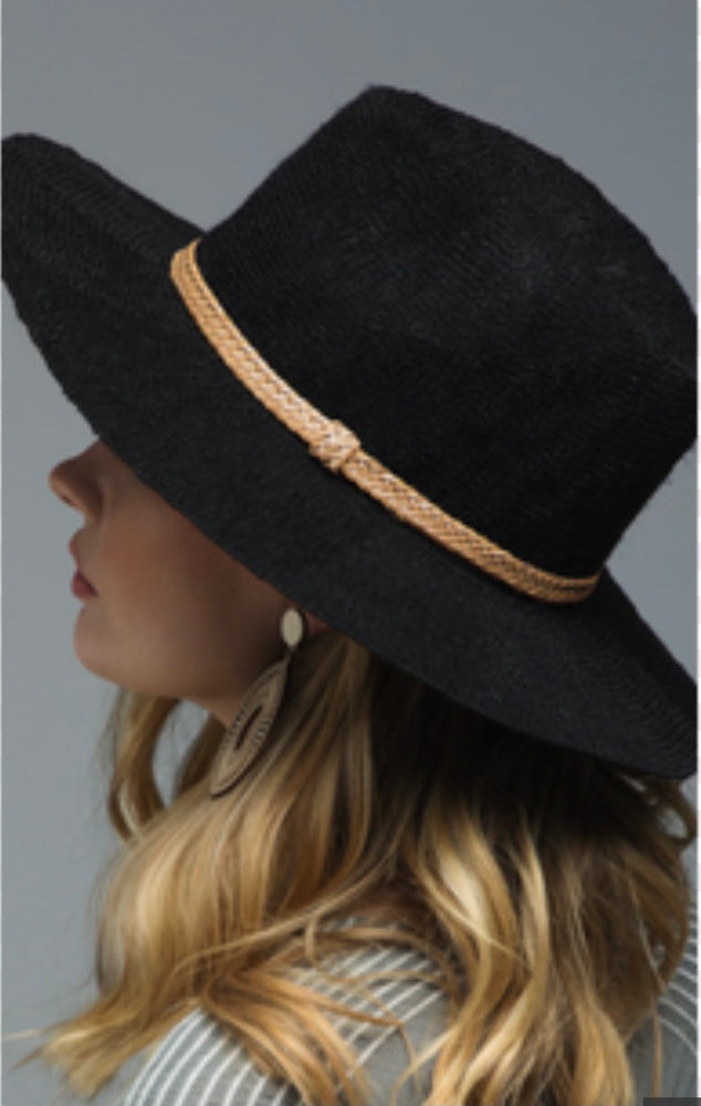 Load image into Gallery viewer, Spring Panama Hat - Black