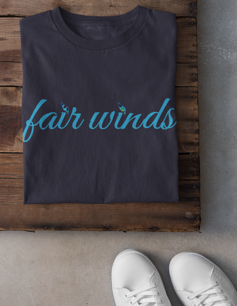 Fair Winds Azure Navy Slogan T-Shirt