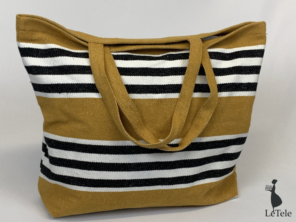 Borsa In Tela Canvas Di Cotone Luz Ocra Shopper