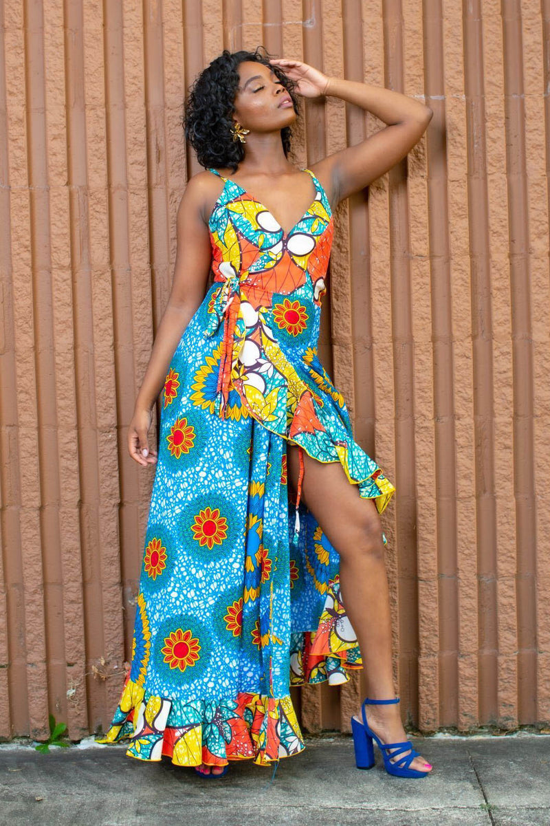 Sunflower maxi wrap dress