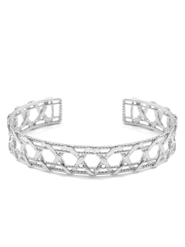 Criss Cross Cuff Bracelet | 18k White Gold