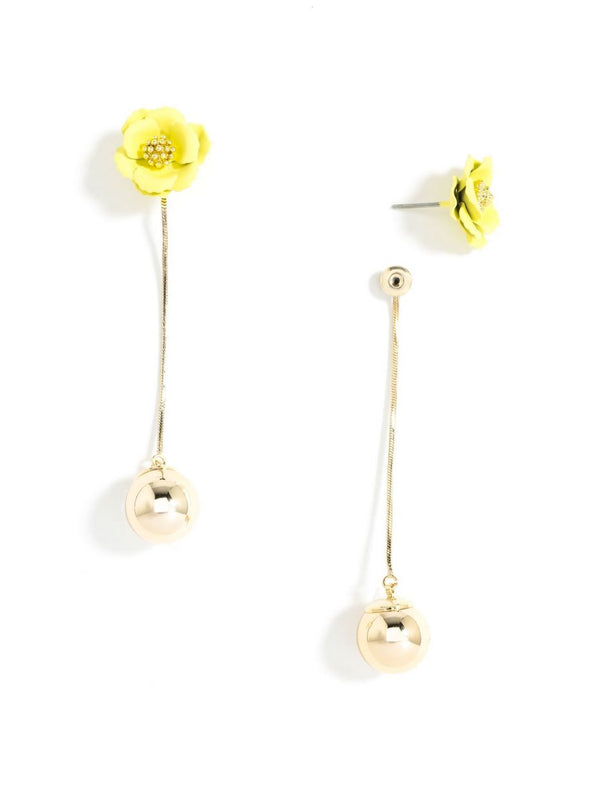 Flowers & A Drop of Gold Earrings | Yellow-Earring-Southern Bale