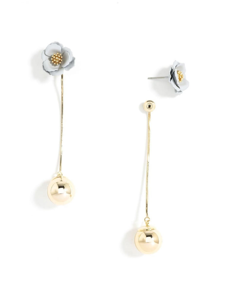Flowers & A Drop of Gold Earrings | Gray