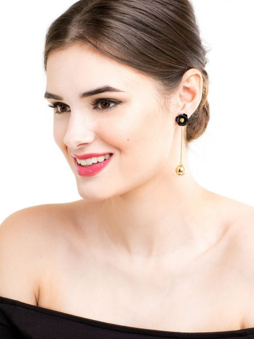 Flowers & A Drop of Gold Earrings | Gray-Earring-Southern Bale