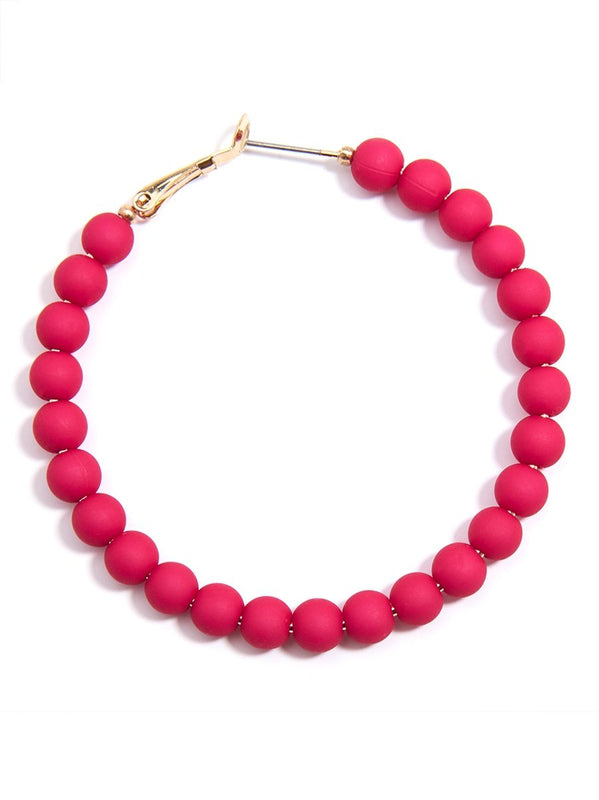 Bead Around the Hoop Earrings l Hot Pink-Earring-Southern Bale