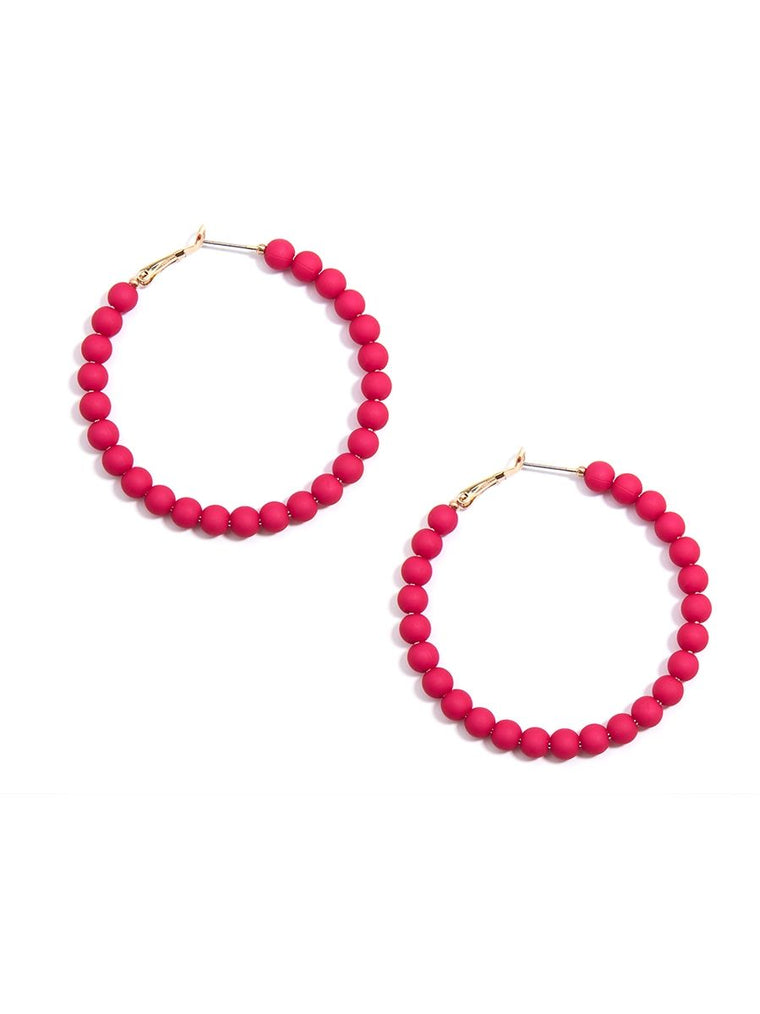 Bead Around the Hoop Earrings l Hot Pink