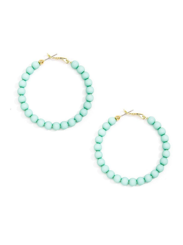 Bead Around the Hoop Earrings l Mint