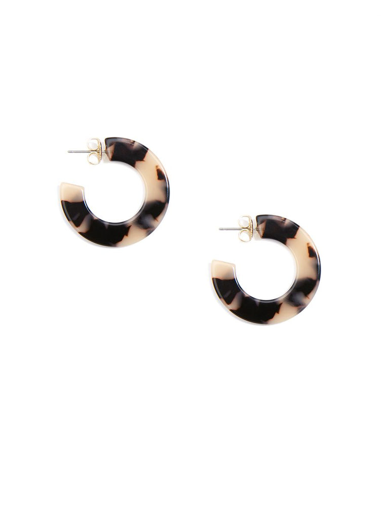 Small Tortoise & Purpoise Hoop Earring | Black & Tan
