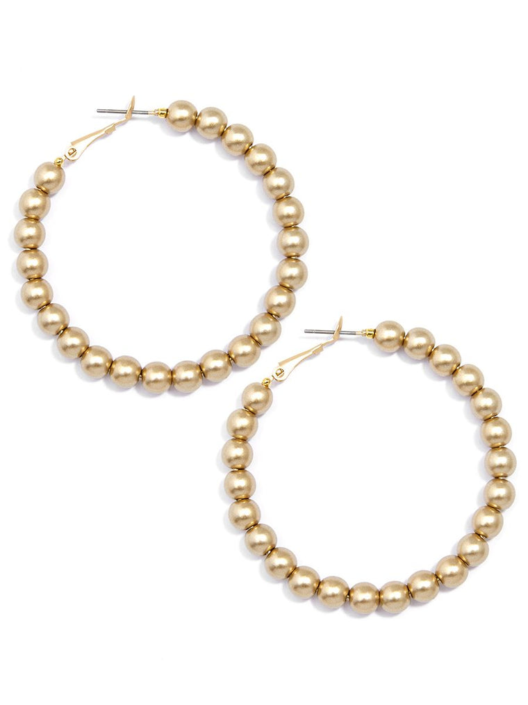 Bead Around the Hoop Earrings l Gold