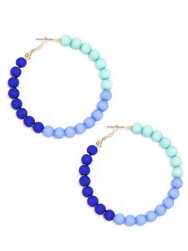 Bead Around the Hoop Earrings | Blue Ombre-Earring-Southern Bale