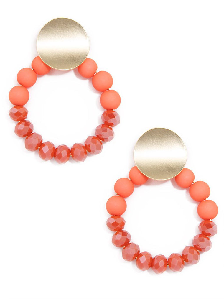 Color Me Coral Beaded Earrings