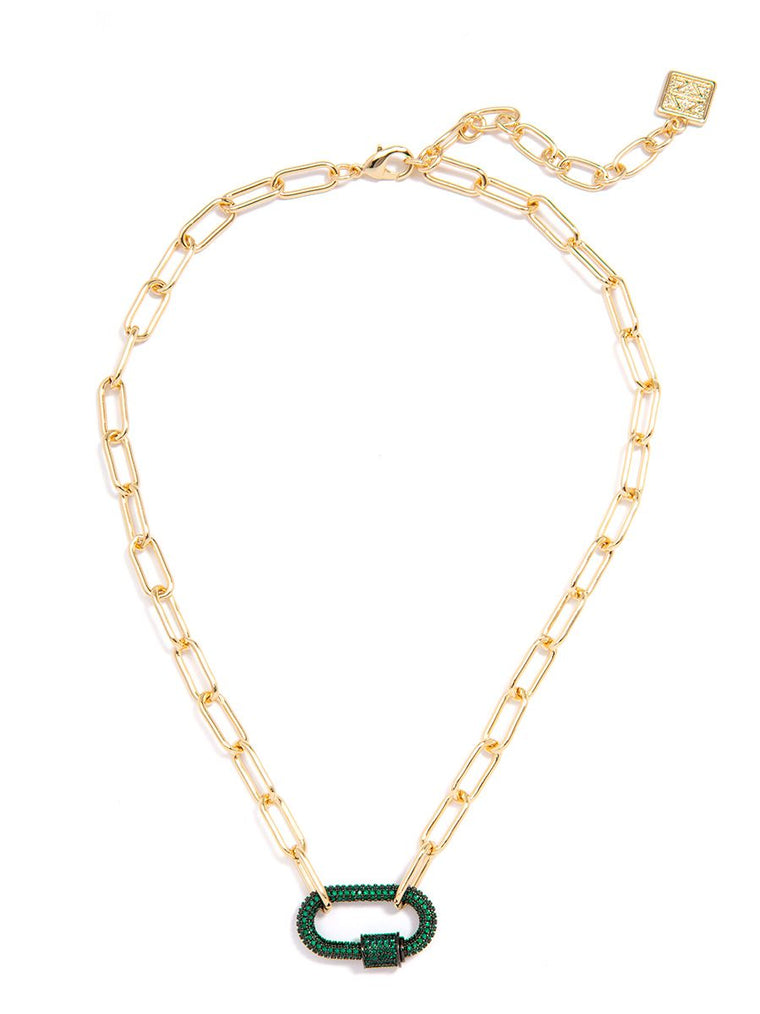 Zoey Pavé Link Necklace | Emerald Green