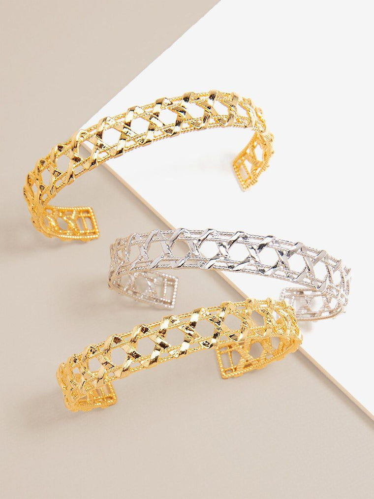 Criss Cross Cuff Bracelet | 18k Gold