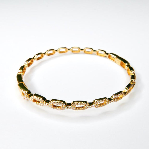 Saffy Jewels Bracelets Pave CZ Link Bangle Yellow BGW01680