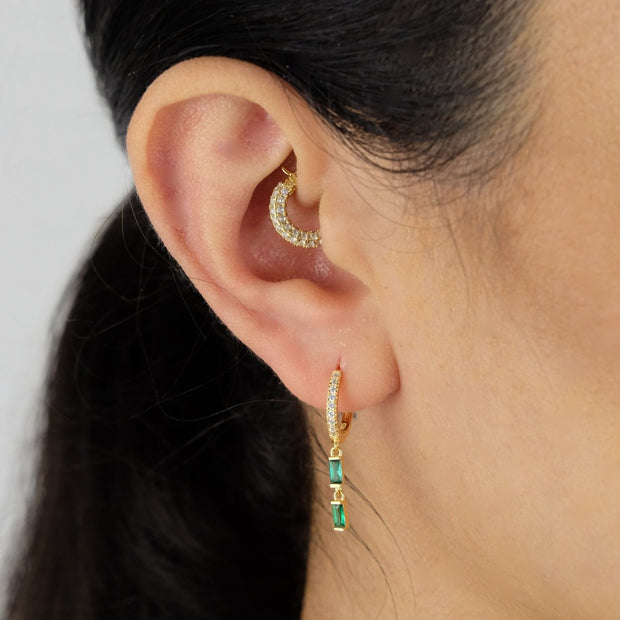 Saffy Jewels Earrings Baguette Drop Huggie Hoop Earring Yellow / Emerald EGM027020303_3