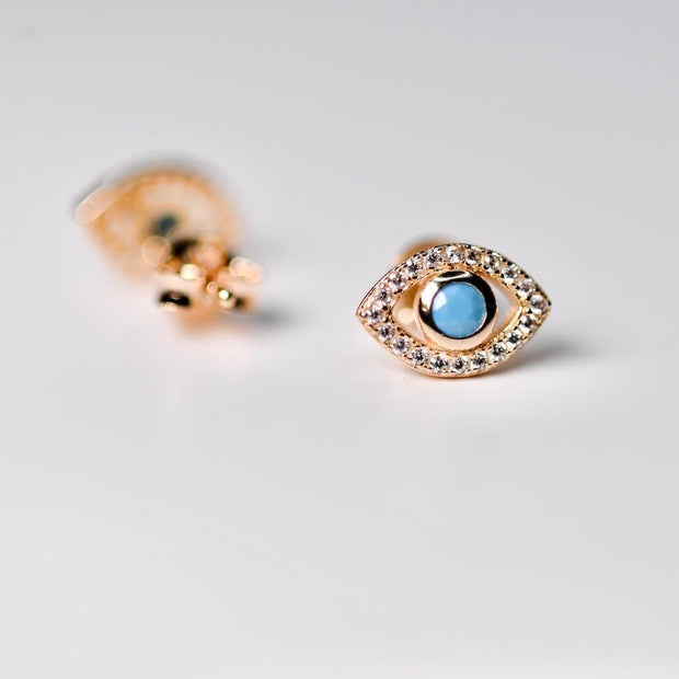 Saffy Jewels Earrings Evil Eye Studs Turquoise EGWT01360