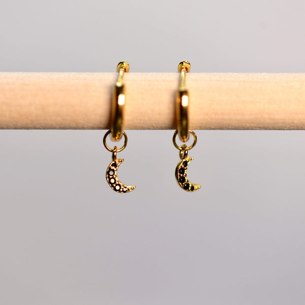 Saffy Jewels Earrings Huggie Hoop with Dangling Moon Yellow / Black pave EGW610_2