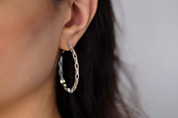Saffy Jewels Earrings Pave Chain Link Hoop White EGW080090_2