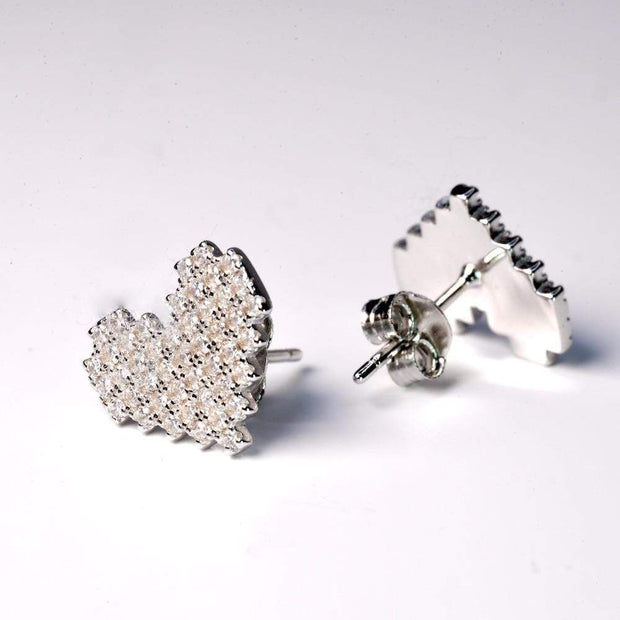 Saffy Jewels Earrings Pave Heart Shaped Studs Earring White EPW06090