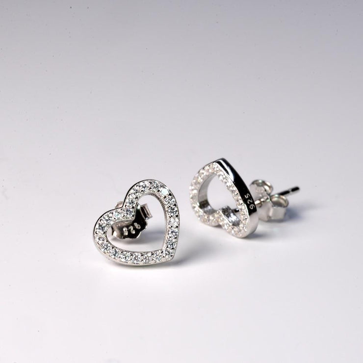 Saffy Jewels Earrings Pave Heart Studs Earring White EWGW05090