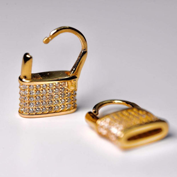 Saffy Jewels Earrings Pave Padlock Huggie Earring Yellow EGW06090