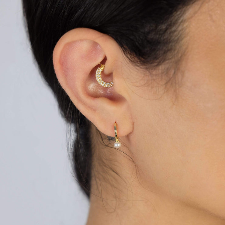 Saffy Jewels Earrings Pearl Drop Huggie Earring Yellow EGP019030030_1